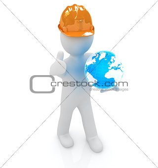 "3d man in a hard hat with thumb up presents concept: ""My company"