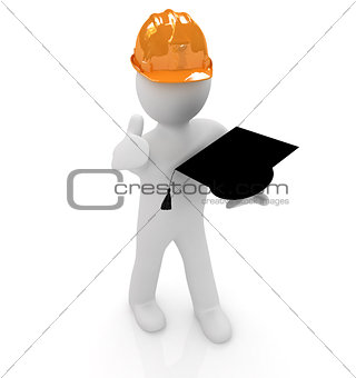 3d man in a hard hat with thumb up presents the best technical e