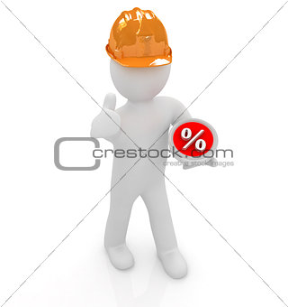 3d man in a hard hat with thumb up presents best percent
