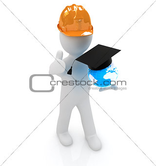 3d man in a hard hat with thumb up presents the best global tech