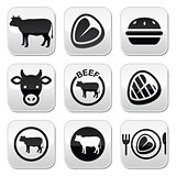 Beef meat, cow vector buttons set