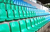 Green and blue stadium seats.