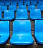 Blue stadium seats.
