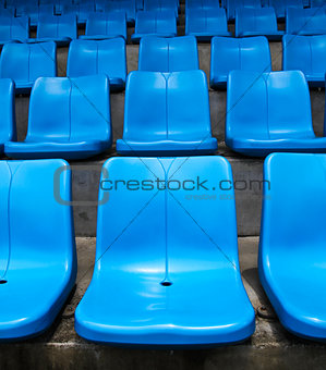 Blue stadium seats.