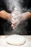 hands with flour