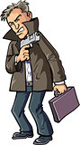 Cartoon agent with gun and suitcase