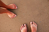 footprints in love couple in the sand on the seashore