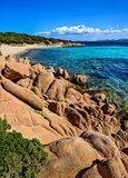 Ocean coastline scenic view in Costa Smeralda, Sardinia