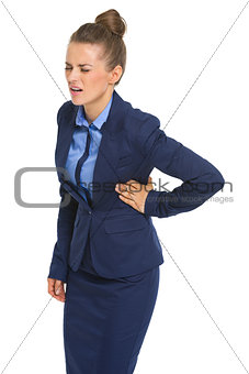 Business woman with chest pain