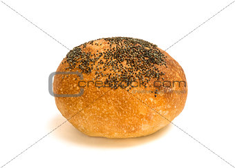 Fresh bread with poppy seed isolated on white background
