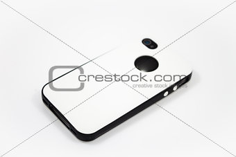 Smartphone with white case isolated on white background