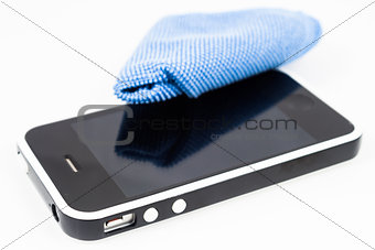Smartphone with microfiber isolated on white background