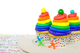 rainbow  birthday cupcakes