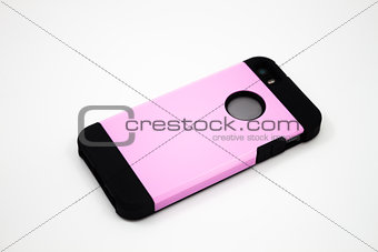 Smartphone with pink case isolated on white background