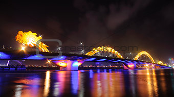 0006-Dragon bridge by night in Danang city