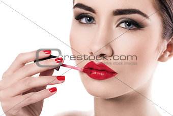 Attractive woman during makeup