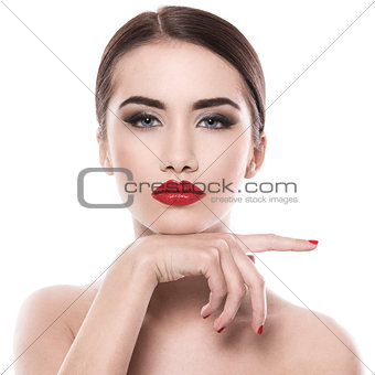 Attractive woman with red lipstick