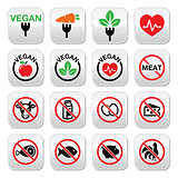 Vegan, no meat, vegetarian, lactose free buttons set