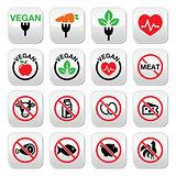 Vegan, no meat, vegetarian, lactose free buttons set