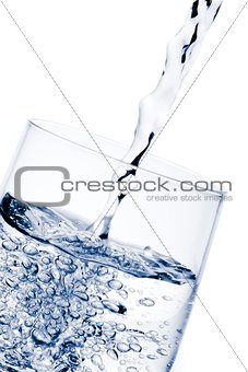 pouring water in the glass