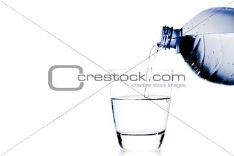 pouring a glass with water trough blue bottle and space for text