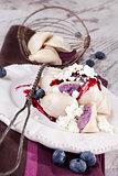 Blueberry dumpling, rustic style.
