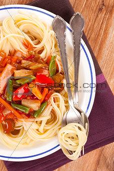 Culinary pasta eating.