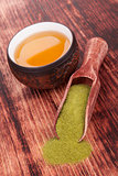 Matcha tea with bamboo chasen.
