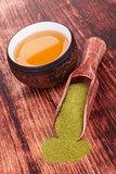 Matcha tea with bamboo chasen.