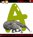 letter a for anteater cartoon illustration