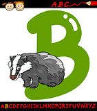 letter b for badger cartoon illustration
