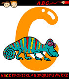 letter c for chameleon cartoon illustration