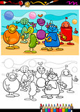 funny aliens cartoon coloring book