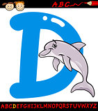 letter d for dolphin cartoon illustration