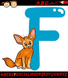 letter f for fennec fox cartoon illustration