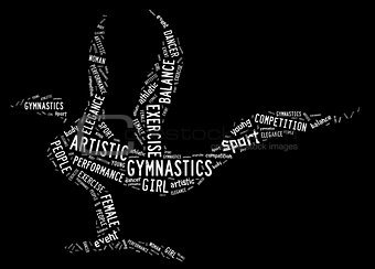 artistic gymnastics pictogram with white wordings