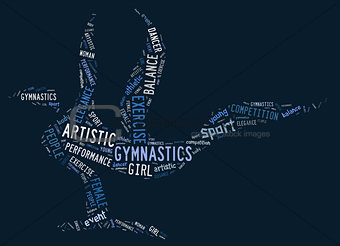 artistic gymnastics pictogram with blue wordings