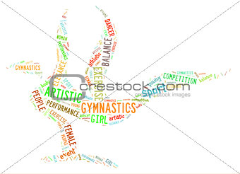 artistic gymnastics pictogram with bright colorful wordings