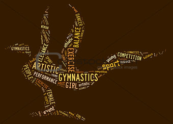 artistic gymnastics pictogram with brown wordings