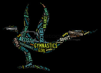artistic gymnastics pictogram with colorful wordings