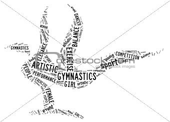 artistic gymnastics pictogram with black wordings