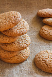 Stacked Brown Cookies On Rustic Background