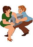 Cartoon couple with gray box