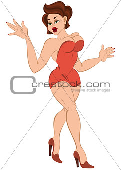 Cartoon girl in mini red dress walking