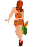 Cartoon girl in orange suit back view