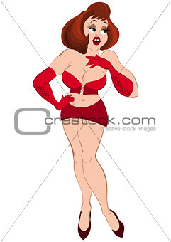 Cartoon girl in red mini skirt and gloves