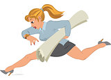 Cartoon girl running with paper in her hand