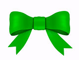 green ribbon with bow, isolated on white