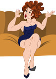 Cartoon girl sitting on the sofa hands up