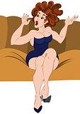 Cartoon girl sitting on the sofa hands up